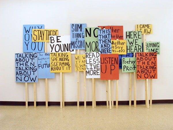 Twenty vague picket signs