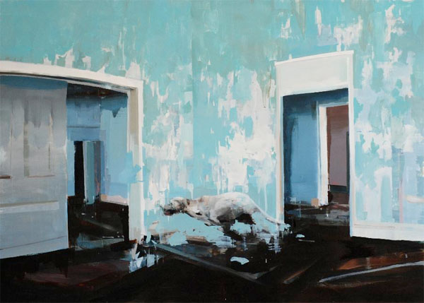 Blue Room with Running Dog