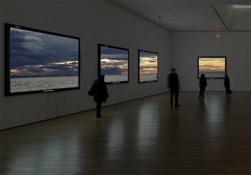 Real windows framed as T.V screens